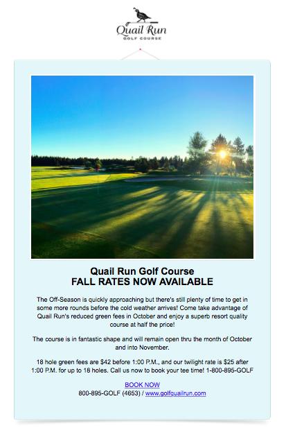Fall Rates Now Available At Quail Run GC